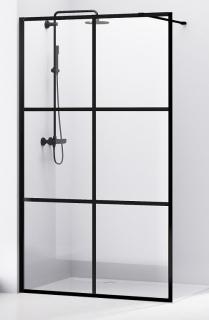 Malla Negra черная душевая стенка Walk-In 120см, Volle 18-08-120black set