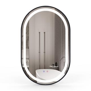 Зеркало 50*80 с подсветкой, диммером, подогревом, черное, Volle 16-42-500B